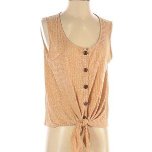 Gold Button Front-Tie Tank